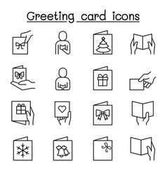greeting card icon set in thib line style vector image