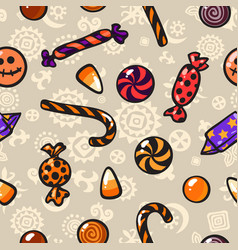Halloween seamless pattern with cartoon candies vector