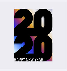 happy 2020 new year card with bold black number vector image