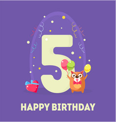 Happy birthday 5 years banner template birthday vector