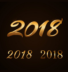 happy new year background gold numbers set 2018 vector image