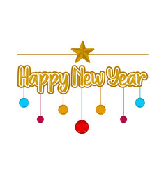 happy new year with ornaments vector image