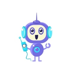 Happy Robot With Radio vector