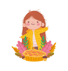 Happy thanksgiving day girl with sweet cake acorn vector