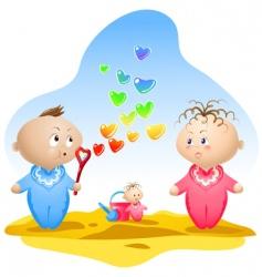Heart shaped bubbles vector