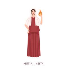 Hestia or vesta - deity or virgin goddess of vector