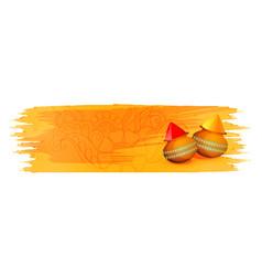 Holi gulal powder color on yellow watercolor vector