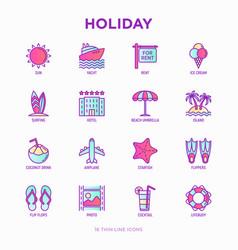 holiday thin line icons set sun yacht ice vector image