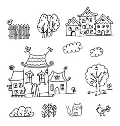 Houses coloring page vector