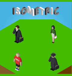 Isometric human set of detective investor guy vector