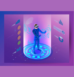 isometric virtual reality concept man wearing vector image