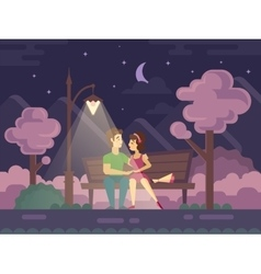 Kissing Couple on a Park Bench at Night vector