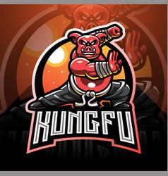 Kungfu pig esport mascot logo design vector