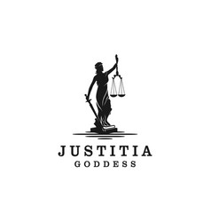 Lady justice justitia goddess logo for attorney vector