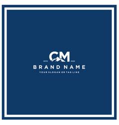 Letter cm mountain logo design vector