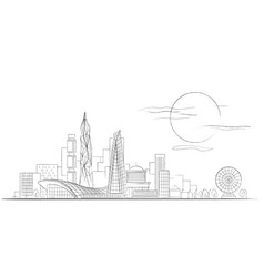 linear sketch of modern cityscape black and vector image