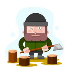 Lumberman lumberjack woodcutter standing and vector