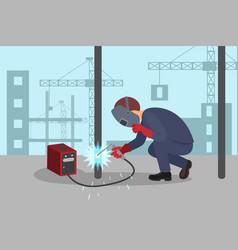 Man welds steel construction by welding machine vector