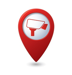 Map pointer with surveillance camera icon vector image vector image