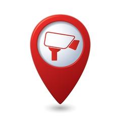 Map pointer with surveillance camera icon vector
