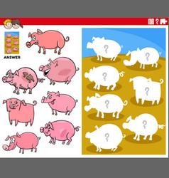Matching shapes game with cartoon pig characters vector