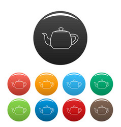 Metal teapot icons set color vector