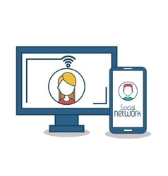 monitor and smart phone social media icons design vector image