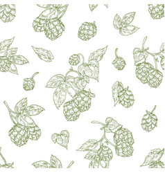 Monochrome seamless pattern with hop flower buds vector