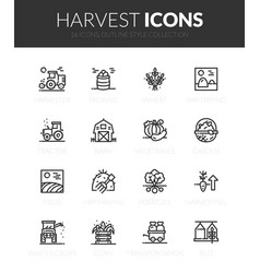 Outline black icons set vector