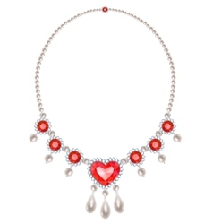 Pearl necklace with rubies vector
