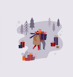 people character shopping on christmas market or vector image