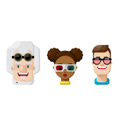 People in eye glasses flat icon set vector