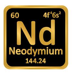 Periodic table element neodymium icon vector