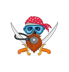 Pirate skull beard diving mask drawing vector