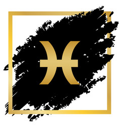 Pisces sign golden icon at vector