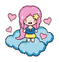 Pixel art videogame character vector