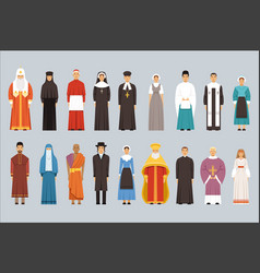 Religion people set men and women of different vector