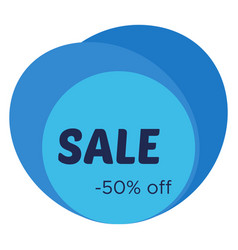 sale sticker with abstract blue geometric forms vector image