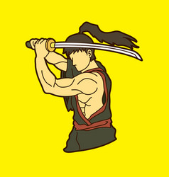samurai with sword katana vector image