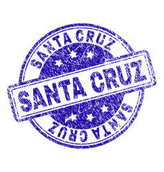 Scratched textured santa cruz stamp seal vector