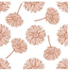 Seamless pattern with hand drawn pastel calendula vector