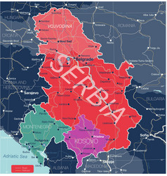 serbia kosovo and montenegro detailed editable map vector image