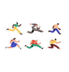 Set ambitious people running fast hurrying vector