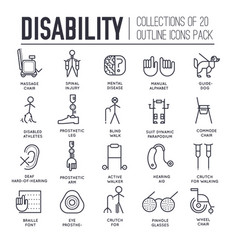 set equipment for disabled people thin line vector image