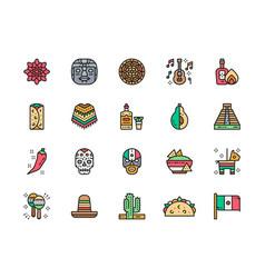 Set mexican culture flat color line icons vector