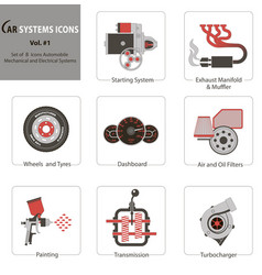 set of 8 icons automobile mechanical and electric vector image