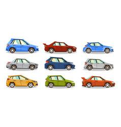 Set of cars collection vehicle sedan hatchback vector