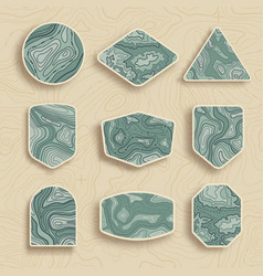 set of nine empty topographic map travel emblems vector image