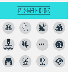 set of simple browser icons vector image