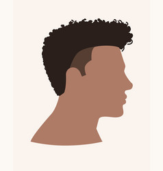 Side view afro male face vector
